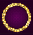round gold frame with lights on a dark background vector image
