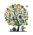 saint patrick day art tree sketch for your vector image