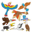 set of birds cartoon vector image