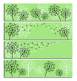set of horizontal green banner with dandelion vector image vector image
