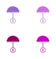 Set of stylish sticker on paper umbrella and coins vector image vector image
