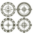 set of vintage compasses vector image vector image