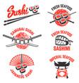set sushi labels japanese seafood samurai vector image