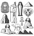 vintage ancient egypt elements set vector image vector image