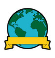 world planet with ribbon vector image vector image
