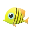 yellow cute fish cartoon icon vector image