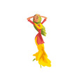 young woman in traditional indian clothes dancing vector image vector image