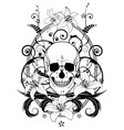 skull and lilies vector image