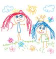 Children drawing princess vector image