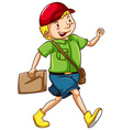 A drawing of a happy postman vector image