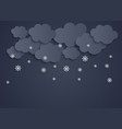 abstract paper clouds with snowflakes vector image vector image