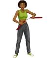 African American Nunchuck girl in sport uniform vector image