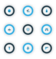 battle icons colored set with aircraft cranium vector image vector image