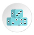blue dice cubes icon circle vector image vector image