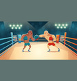 boxers fighting on ring opponents wrestling match vector image