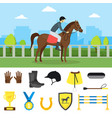 cartoon equipment jockey and element set vector image