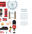 cartoon london sights banner vector image