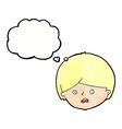 cartoon unhappy boy with thought bubble vector image vector image