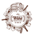 circle shape template with sketch wine icons vector image