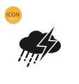 cloud with rain and thunder icon isolated flat vector image