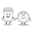 coffee cup and donut coloring book vector image vector image