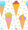 Colorful melting ice-cream seamless pattern vector image vector image
