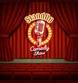 comedy show theater scene with red curtains vector image