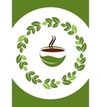 cup of hot coffee with coffee leafs frame vector image