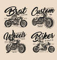 custom motorcycle vintage designs set vector image vector image