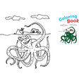 cute cartoon octopus for coloring book vector image