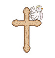 cute doves birds with cross vector image vector image