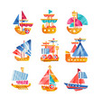 different vessels set smal colorful ships flat vector image