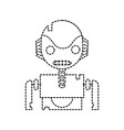 dotted shape robot face with technology chest vector image