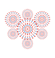 Fireworks red and blue on white background vector image vector image