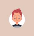 flat cartoon portrait little boy with spiky vector image vector image