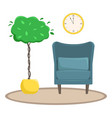flat the interior of the living room an armchair vector image vector image