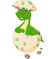 funny baby dinosour egg hatch cartoon look up vector image vector image