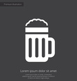 glass beer premium icon white on dark background vector image vector image