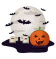 halloween tombs with moon and set icons vector image vector image