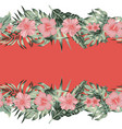 hibiscus plumeria monstera palm leaves border vector image vector image