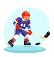 hockey player stick puck ice skates flat design vector image