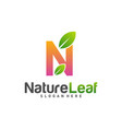 initial n with nature leaf logo design template vector image vector image