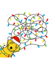 labrador tangled christmas lights in santa hat vector image