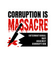 lettering stop corruption day for international vector image vector image