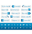 Light web buttons with blue bookmarks and icons vector image vector image
