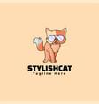 logo stylish cat simple mascot style vector image