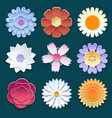 Paper 3d origami flowers set vector image