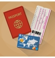 Passport boarding pass ticket bank card vector image vector image
