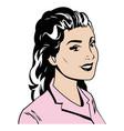 portrait woman pink tshirt pop art vector image