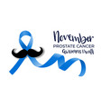 prostate cancer blue ribbon with mustache vector image vector image